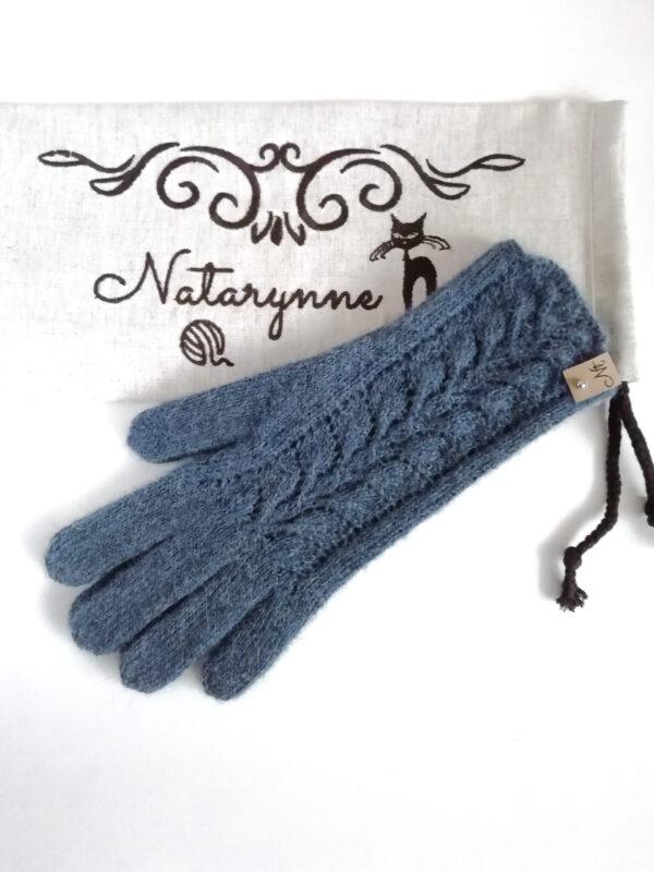 Перчатки спицами Синие